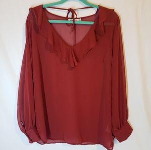 Just Fab NWT burgundy sheer top with ruffle collar